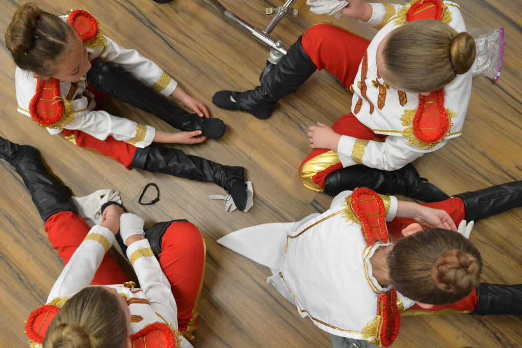 Justin Sheely | The Sheridan Press	<br /> Local dance students, as a soldiers, get ready in the dressing room during a dress rehearsal of the San Diego Ballet's Nutcracker Tuesday at the Whitney Center for the Arts. Local dance students play roles in the sold-out ballet performances this week.
