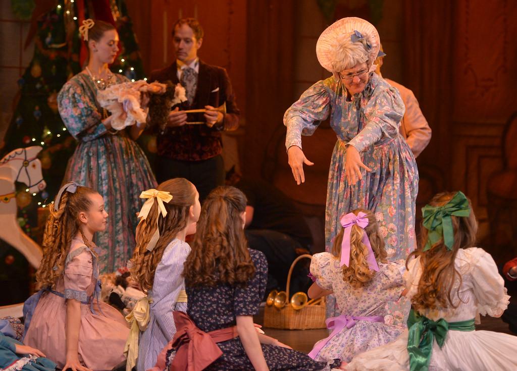 Justin Sheely | The Sheridan Press	<br /> Isabelle Overstreet as maid directs the children during a dress rehearsal of the San Diego Ballet's Nutcracker Tuesday at the Whitney Center for the Arts Concert Hall. Local dance students play roles in the sold-out ballet performances this week.