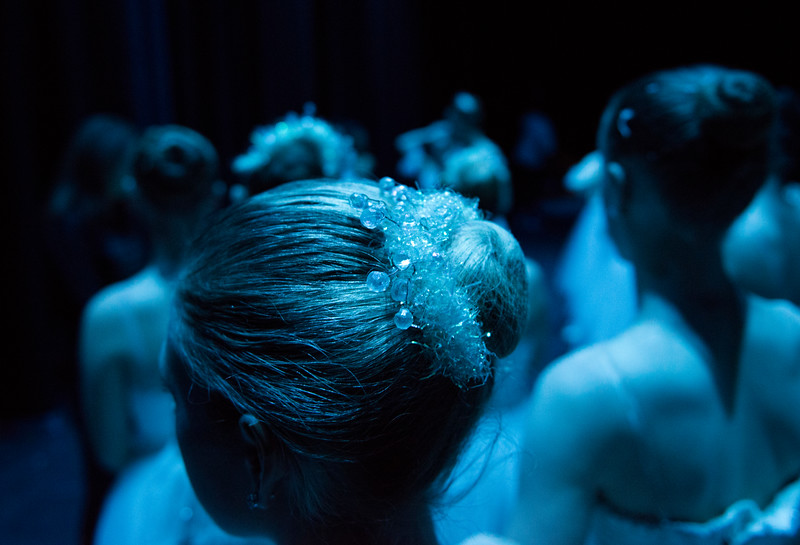 Justin Sheely | The Sheridan Press	<br /> Dancers gather at the end of act one during a dress rehearsal of the San Diego Ballet's Nutcracker Tuesday at the Whitney Center for the Arts Concert Hall. Local dance students play roles in the sold-out ballet performances this week.