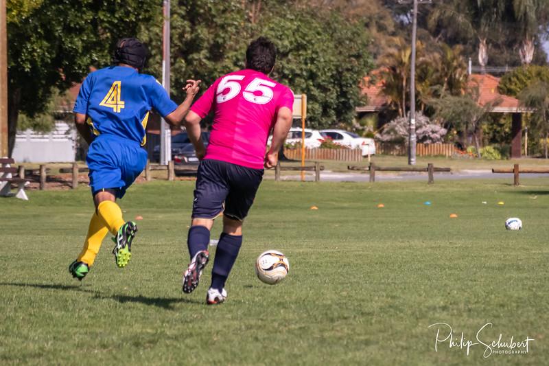 NORANDA, AUSTRALIA - Sep 15, 2019: Members of the local Noranda community play social soccer each Sunday at the Noranda Sporting Complex.