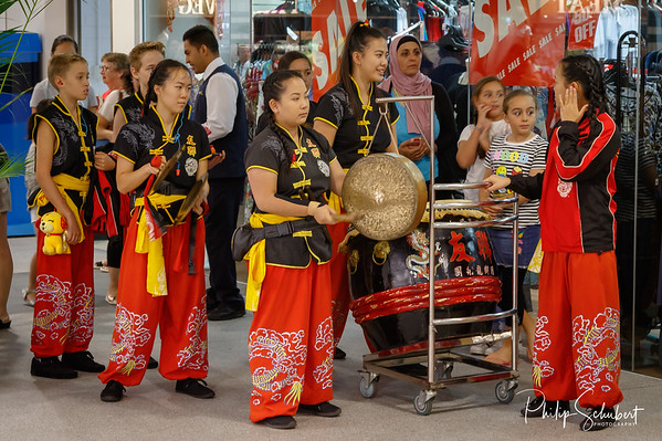Noranda, Western Australia - Feb 24 2018: Traditional Chinese Lion Dance performance celebrating Chinese New Year,  Year of the Dog at Hawaiian's Noranda Shopping Centre.
