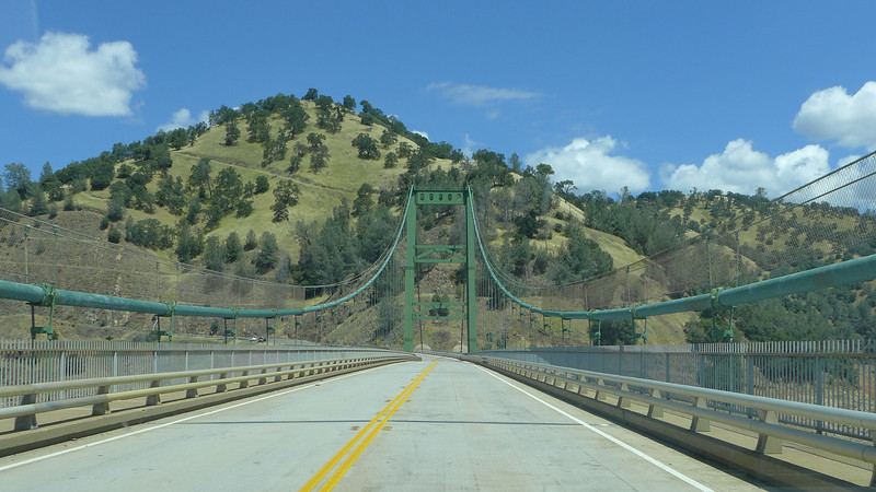 Bidwell Bar Suspension Bridge, built in 1967, crossing the Middle and South Fork of the Feather River.
