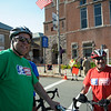 6/24/16 LEOMINSTER with story-  Worcester Mayor Jospeh Petty (right) stands with Fitchburg Mayor Stephen DiNatale for a Mayors Race during Friday's Longsjo Classic in Leominster. Sentinel & Enterprise photo/Jeff Porter