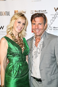 HOLLYWOOD, CA - OCTOBER 08:  Group Publisher Alison Miller (L) and actor Dennis Quaid arrive at Los Angeles Confidential Magazine Celebrates Their Men's Issue Cover Party with Dennis Quaid at The Residences At W Hollywood on October 8, 2012 in Hollywood, California.  (Photo by Chelsea Lauren/WireImage)