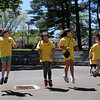 32nd annual Acre Cleanup run by CBA at North Common. From left rear, Amada Gregory and Sameda Nevala of Lowell, Juliana Irizarry of Nashua, and Johanna E. Cortes, J'leisamy Mangual Figueroa, Kassandra Boucher and Angel Williams, all of Lowell, dancing. (SUN/Julia Malakie)