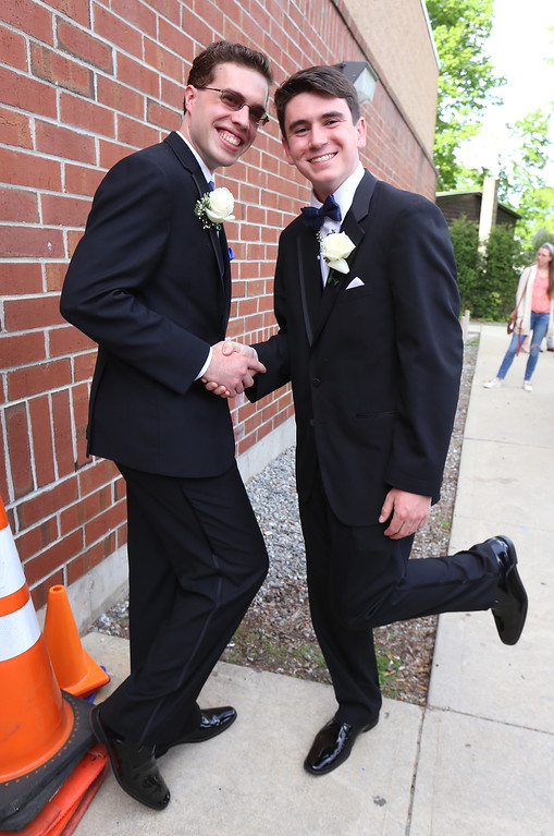 . Lowell Catholic\'s pre-prom promenade. Matthew Belleau of Westford, left, and James Bartlett of Lowell. (SUN/Julia Malakie)