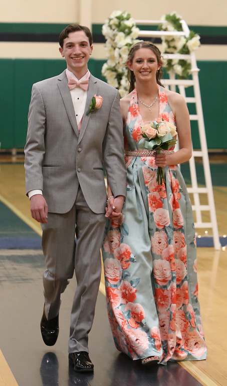 . Lowell Catholic\'s pre-prom promenade. Jake Zawadzki of Dracut and Sarah Ciampa of Tewksbury. (SUN/Julia Malaki e)