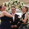 Lowell Catholic's pre-prom promenade. From left, Mikayla Patterson of Pelham, Zachary Finnegan of Pelham, who goes to Pelham High School, and Faith Dame. (SUN/Julia Malakie)