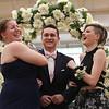 Lowell Catholic's pre-prom promenade. From left, Mikayla Patterson of Pelham, Zachary Finnegan of Pelham, who goes to Pelham High School, and Faith Dame. (SUN/Julia Malakie)