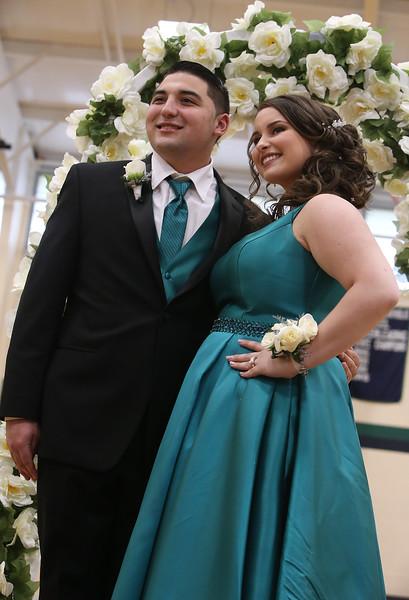 Lowell Catholic's pre-prom promenade. Scott Fournier and Ashlee Locke-Hunter, both of Pelham, N.H. (SUN/Julia Malakie)
