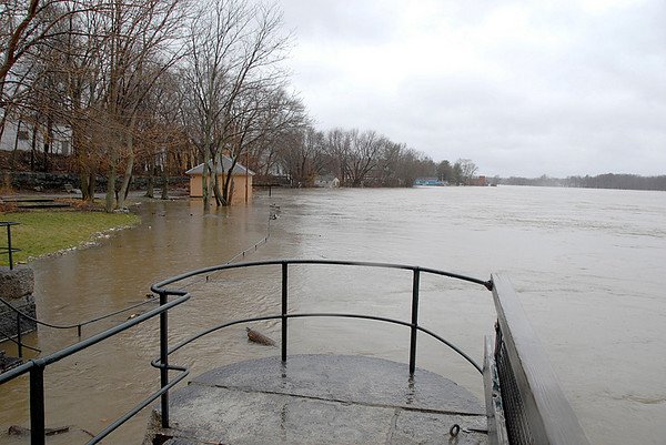 """The """"Blacksmith Shop"""" is having difficulty staying above water. The Merrimack River, Lowell, MA 4-17-07"""