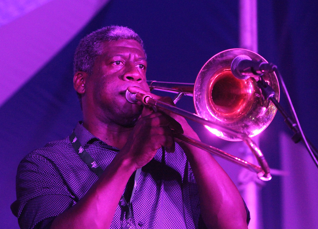 . Leonardo Govin on trombone, as Gerardo Contino y Los Habaneros perform Cuban music at the Dutton Street Dance Pavilion.  (SUN/Julia Malakie)