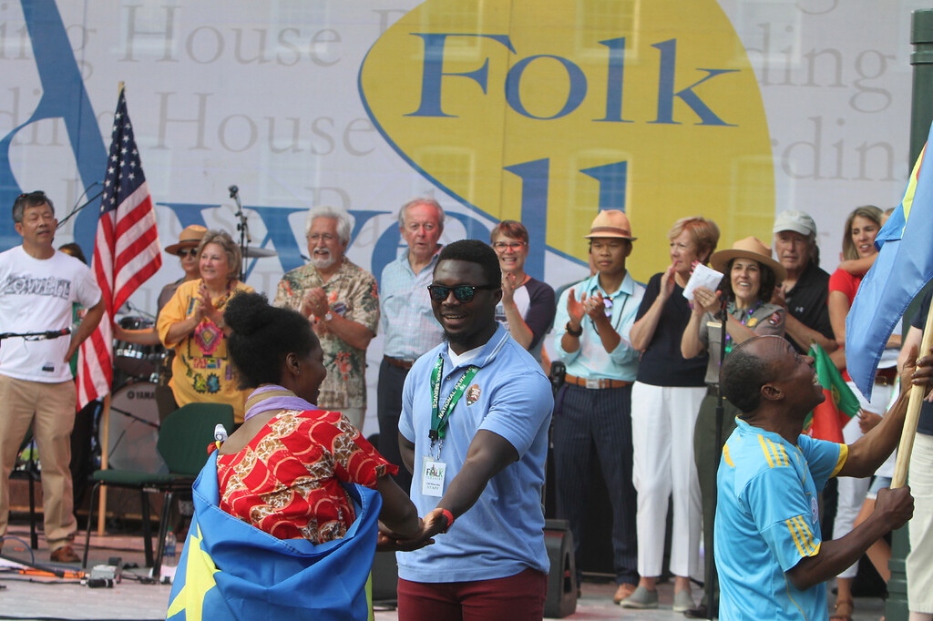 . First night of Lowell Folk Festival. Parade to Boarding House Park and opening ceremony.  (SUN/Julia Malakie)