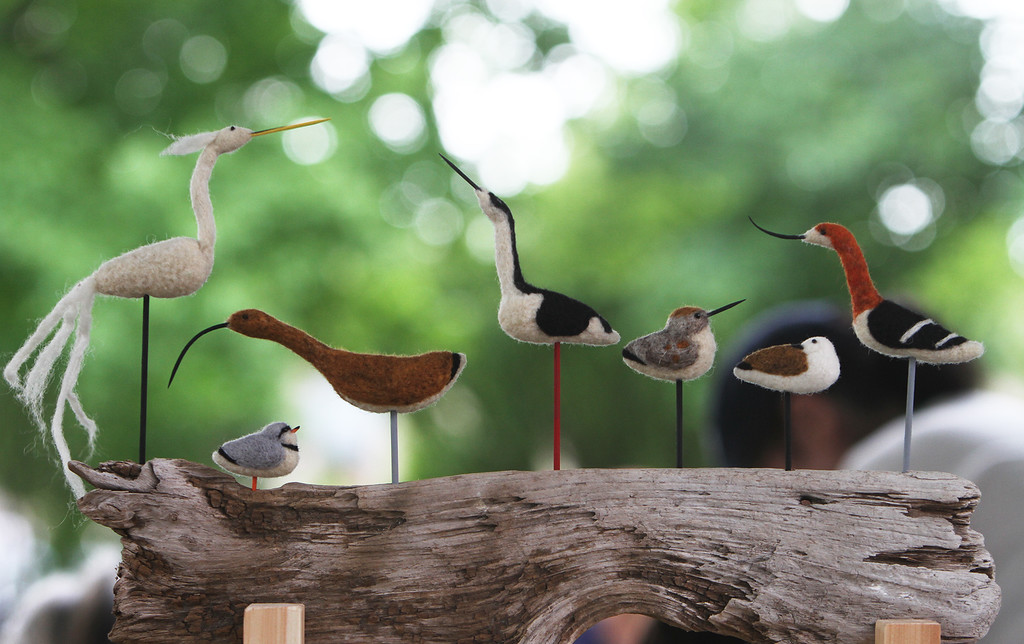 . Saturday at Lowell Folk Festival. Needle-felted birds made from wool by Kim Sheehan of Ring\'s Island (Salisbury). (SUN/Julia Malakie)