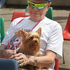 Saturday at Lowell Folk Festival. Arthur McCann of Lowell with his Yorkshire terrier, Nikki, at JFK Plaza. (SUN/Julia Malakie)