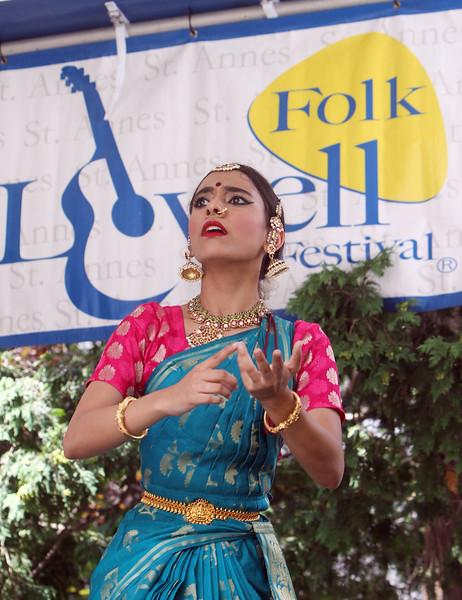 Saturday at Lowell Folk Festival.  Yamini Kalluri & the Carnatic Ensemble, performing Kuchipudi dance. (SUN/Julia Malakie)