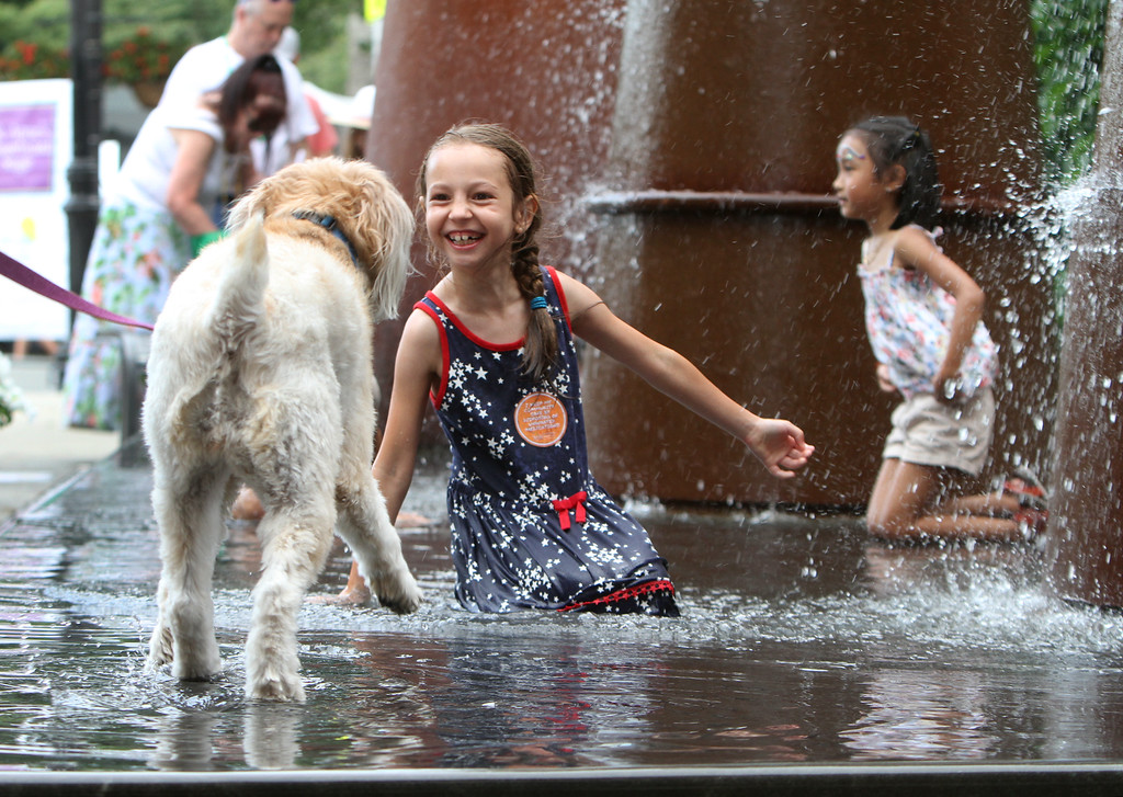 . Saturday at Lowell Folk Festival. Farah Gonzalez, 7, of Lowell, meets a wheaten terrier named Ginger, cooling off in the Enterprise Bank fountain. (SUN/Julia Malakie)