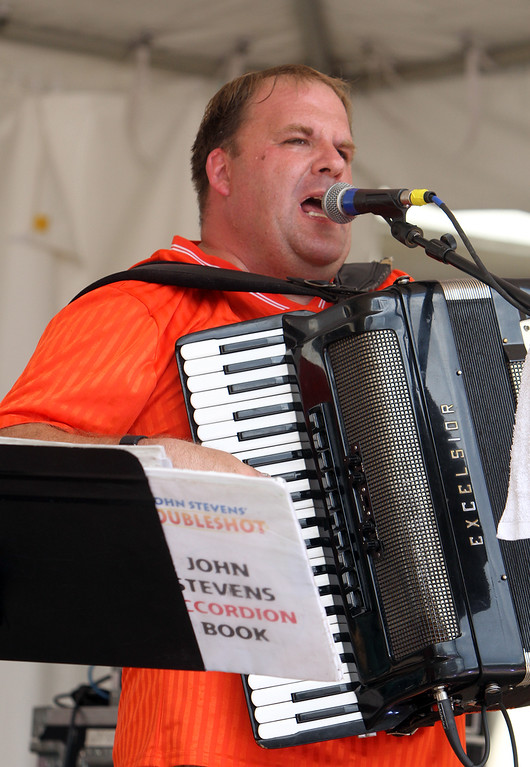 . Saturday at Lowell Folk Festival. John Stevens Norkaitis of the John Stevens Polka Band at JFK Plaza playing accordion.  (SUN/Julia Malakie)