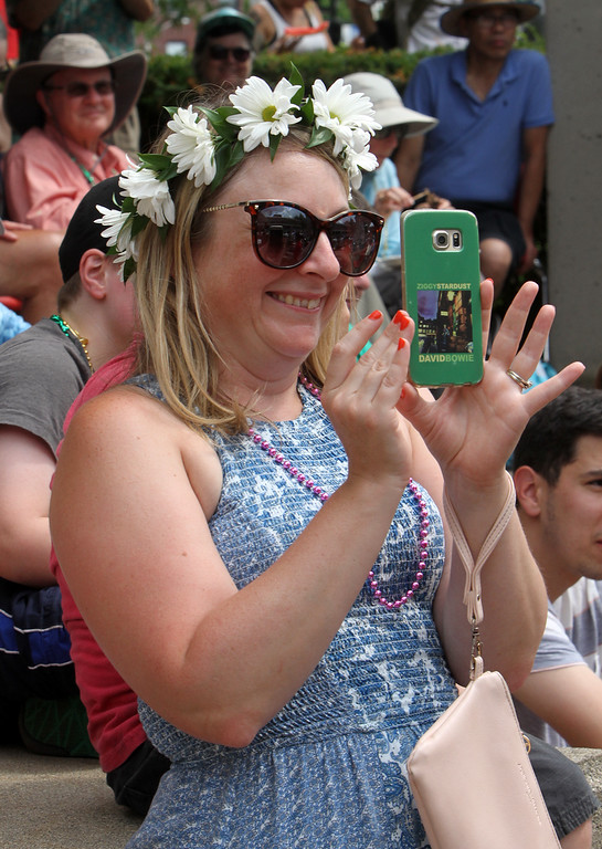 . Lowell Folk Festival. Desiree Shay of Lowell at JFK Plaza. (SUN/Julia Malakie)