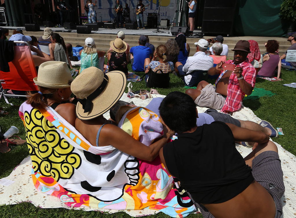. Lowell Folk Festival. Jerome Collins of Lowell takes a picture of his family at Boarding House Park. (SUN/Julia Malakie)