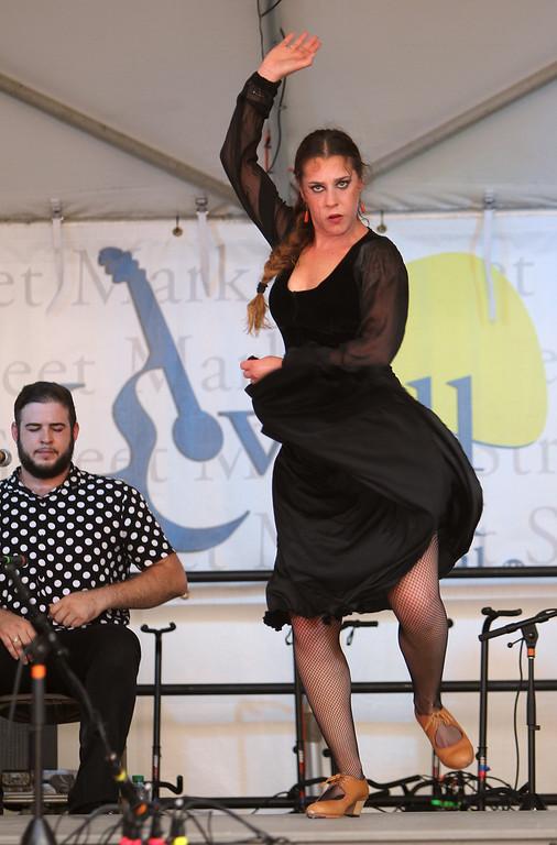 . Lowell Folk Festival. Dancer Victoria Macias and singer Alejandro Lujan perform with Corazon de Granada: Flamenco Joven y Jondo, at Market Street Stage.(SUN/Julia Malakie)