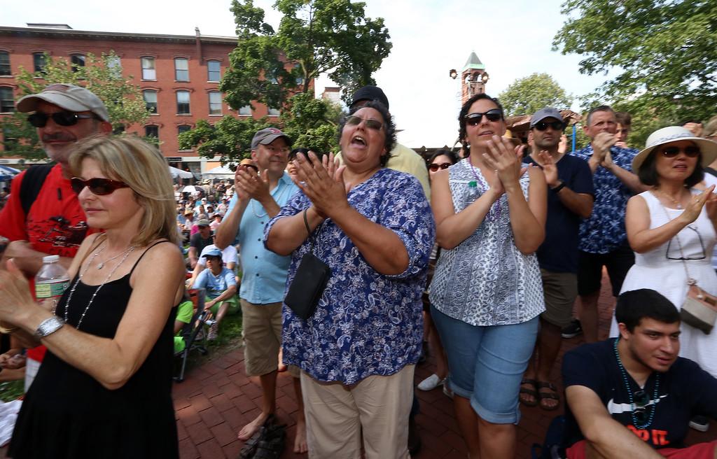 . Lowell Folk Festival. Crowd applauds Corazon de Granada: Flamenco Joven y Jondo, at Market Street Stage. (SUN/Julia Malakie)