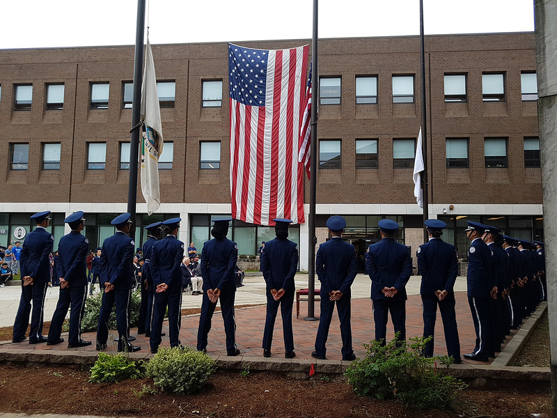 Lowell High Air Force Junior ROTC at ceremony at Lowell High School on 18th anniversary of the 9/11 attacks. (SUN/Julia Malakie)