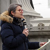 Lowell city councilor Karen Cirillo speaks at Rally for Women organized by Solidarity Lowell, at the Ladd & Whitney Monument. (SUN/Julia Malakie)
