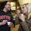 2019 Lowell Winterfest. Jamie Armstrong of Tyngsboro and his girlfriend Aga Bereznicka of Boston, sample Tomato Bisque from NoLo Bistro & Bar, at the Richard Rourke Memorial Soup Bowl Competition. (SUN Julia Malakie)