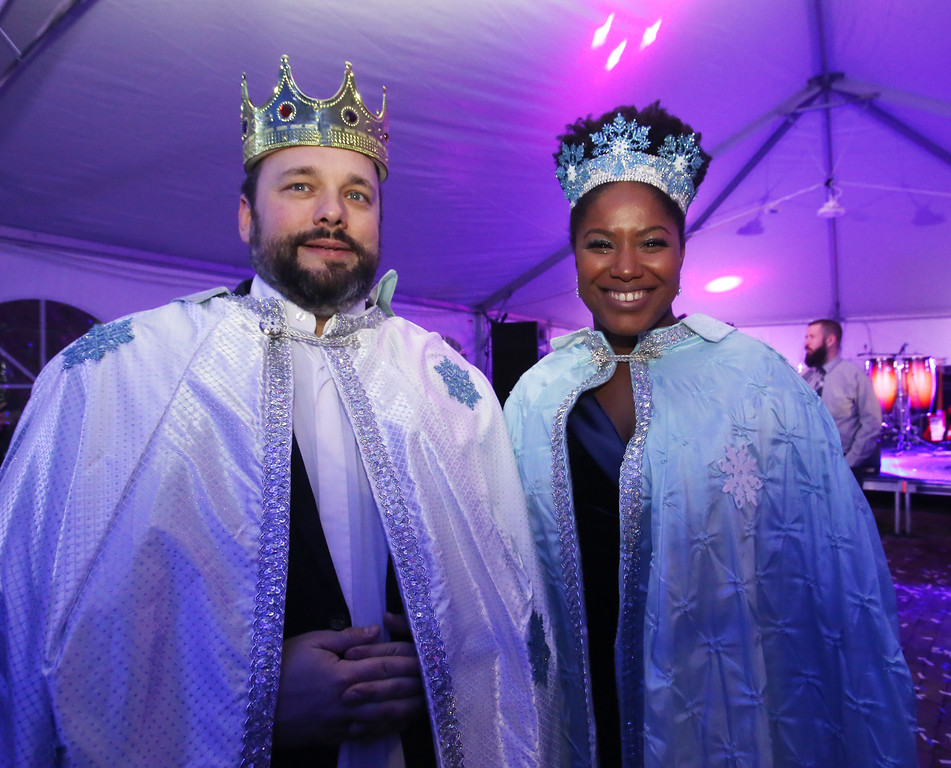 . Lowell Winterfest opening night. Shaun McCarthy and his girlfriend Christa Brown, both of Lowell, are the Winterfest King and Queen. (SUN Julia Malakie)