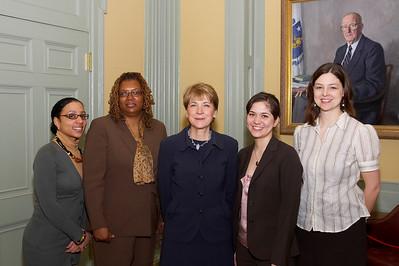 April 11, 2008. Boston, MA. Commonwealth Seminar graduation with Attorney General Martha Coakley, Ali Noorani and Jarrett Barrios.