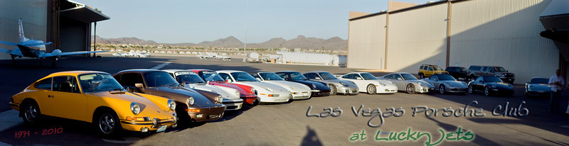 Photograph of Las Vegas Porsche Club Porsches lined up at Lucky Jets Airlines party photo for Cinco Da Mayo at Henderson Executive Airport in Las Vegas. Photograph by Las Vegas photographer Mark Bowers. www.ReallyVegasPhoto.com