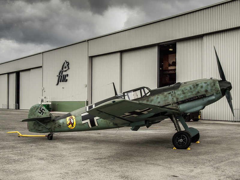 Messerschmitt Bf-109E-3 Emil, post flight at the Flying Heritage Collection and Paine Field Everett, WA during Luftwaffe Fly Day, August 17, 2013.