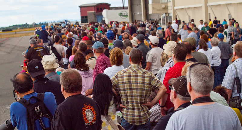 A portion of the crowd that gathered at Paine Field in Everett, Washington on Luftwaffe Fly Day, August 17, 2013.