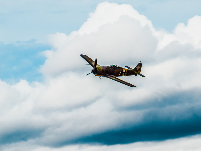 Focke-Wulf Fw-190 A-5 in flight during the Luftwaffe Fly Day at Paine Field in Everett, WA.