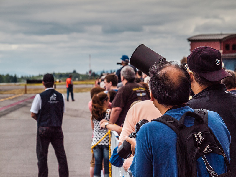 Photographers gathered at Paine Field in Everett, Washington on Luftwaffe Fly Day, August 17, 2013.