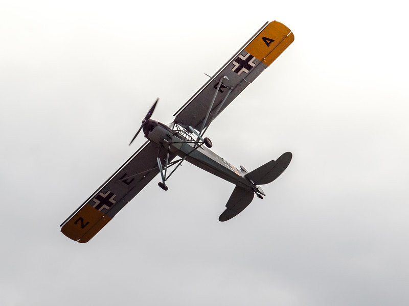 Fieseler Fi 156 Storch, in flight at Luftwaffe Fly Day hosted by the Flying Heritage Collection at Paine Field in Everett, WA, August 17, 2013.