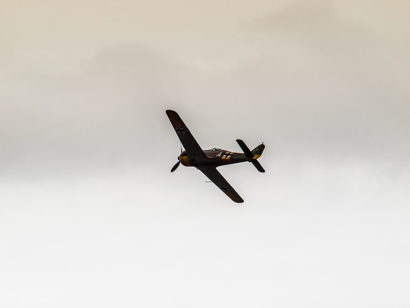 Focke-Wulf Fw-190 A-5 in flight during the Luftwaffe Fly Day at Paine Field Everett, Washington on August 17, 2013.