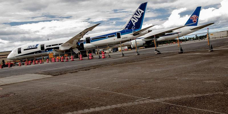 New Boeing jets at Paine Field on Luftwaffe Fly Day, August 17, 2013.