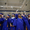 5/26/16 LUNENBURG--  Lunenburg class of 2016 chanting at the end of graduation on Friday at Lunenburg High School.  Sentinel & Enterprise photo/Jeff Porter