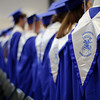 """5/26/16 LUNENBURG-- Lunenburg graduates facing guests to sing their class song """"My Wish"""" by the Rascal Flatts during Fridays graduation ceremony in Lunenburg High School's new building.  Sentinel & Enterprise photo/Jeff Porter"""