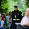 5/29/16 LUNENBURG-- Arnie Rill, USMC, and the person who lowered the flag to half mast, standing with guest's during Sundays Memorial Day ceremony at the Eagle House Senior Center in Lunenburg.  Sentinel & Enterprise photo/Jeff Porter