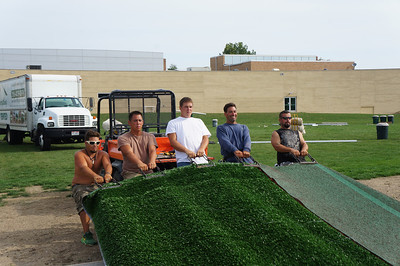 Installation of artificial turf on Lutheran West baseball field - September 2012