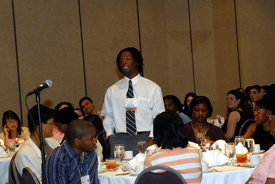 EB2007:  Student asks a question during the MARC Student Day Program & Luncheon.