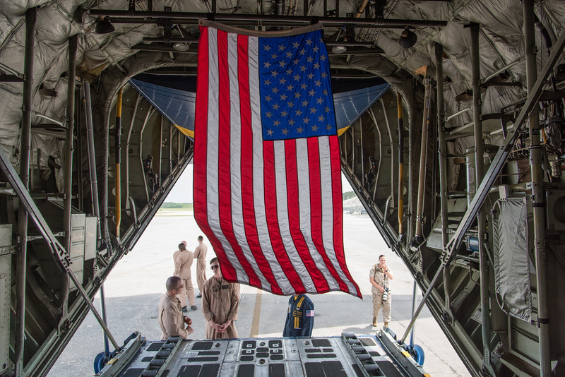 American flag in the hold of Fat Albert