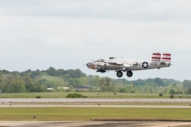 """Panchito"" B25 Mitchell bomber performs at MCAS Beaufort, April 2015"