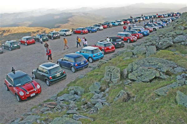 MINIs at the top of the Auto Road near the summit of Mt. Washington.
