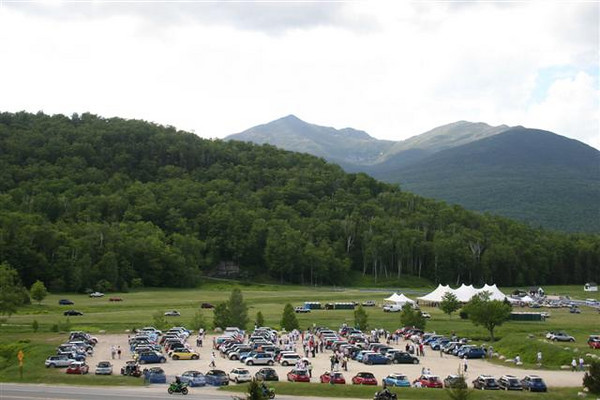 MINI's gathering in the afternoon at the base of the Mt. Washington Auto Road.