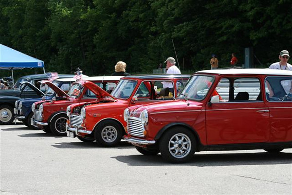 Old school Mini Coopers at the Loon Mountain Resort pre-rally gathering.