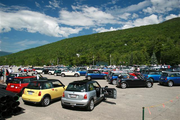 MINI Coopers gather at Loon Mountain Resort the morning of the rally.